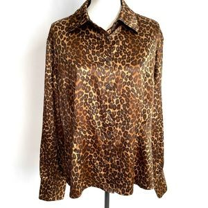 George ME Designs silky leopard print blouse